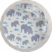 KAMEARI Round Cabinet Knob Elephant White Cute Set