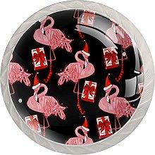 KAMEARI Round Cabinet Knob Flamingo Christmas