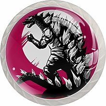 KAMEARI Round Cabinet Knob Godzilla Dinosaur with