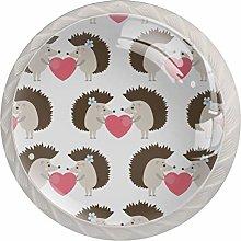 KAMEARI Round Cabinet Knob Hedgehog and Love Set