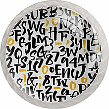 KAMEARI Round Cabinet Knob Letters Pattern Set of 4