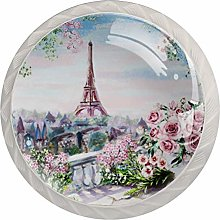 KAMEARI Round Cabinet Knob Paris Eiffel Tower Set