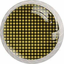 KAMEARI Round Cabinet Knob Plaid Seamless Set of 4