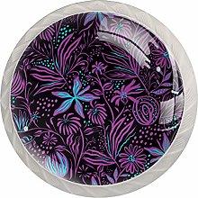 KAMEARI Round Cabinet Knob Purple Plant Design Set