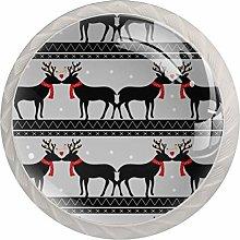 KAMEARI Round Cabinet Knob Romantic Deer Set of 4