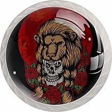 KAMEARI Round Cabinet Knob Skull Lion Head Set of 4
