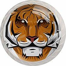 KAMEARI Round Cabinet Knob Tiger Set of 4