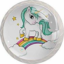 KAMEARI Round Cabinet Knob Unicorn and Rainbow Set