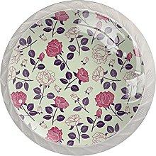 KAMEARI Round Cabinet Knob Vintage Pink Flower Set