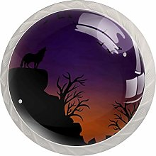 KAMEARI Round Cabinet Knob Wolf Moon Set of 4