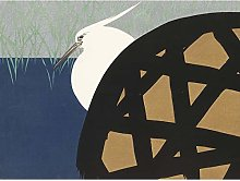 Kamisaka Sekka White Heron Reeds Japanese Painting