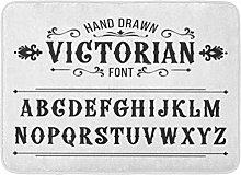 Kanaite Bath Mat ABC Graphic Hand Drawn Letters