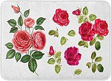 Kanaite Bath Mat Drawing White Floral Red Rose