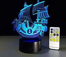 KangYD 3D Night Light Cartoon Smooth Sailing, LED