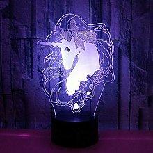 KangYD 3D Night Light Cartoon Unicorn Horse, LED