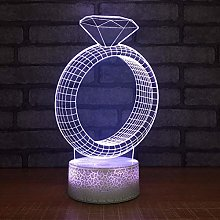 KangYD 3D Night Light Creative Diamond Ring Shape,