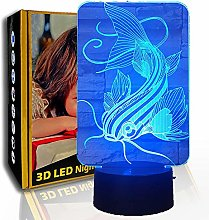 KangYD 3D Night Light Creative Fish, LED Illusion