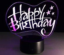 KangYD 3D Night Light Happy Birthday Decor, LED