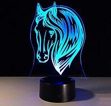 KangYD 3D Night Light Lovely Horse Head, LED