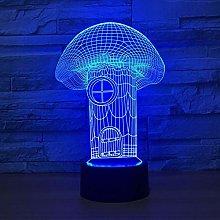 KangYD 3D Night Light Mushroom House Model, LED