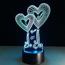 KangYD 3D Night Light Romantic Heart Balloon, LED