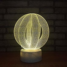 KangYD 3D Night Light Round Abstract Model, LED