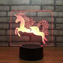 KangYD 3D Night Light Unicorn Cute Horse, LED