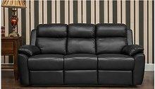 Kansas Reclining 3 Seater Leather Sofa Settee Black