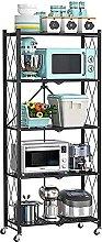 KANULAN Storage Trolleys shelf 5 Tier Foldable