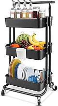 KANULAN Storage Trolleys Shelf Storage Cart 3 Tier