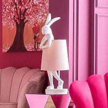 KARE Animal Rabbit table lamp white/pink