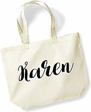 Karen Personalised Shopping Tote in Natural Colour