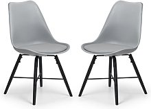 Kari Dining Chair In Pair With Grey Seat And Black