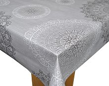 Karina Home Mandala Grey PVC Tablecloth 200cm x