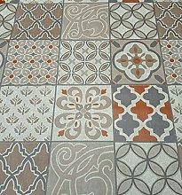 Karina Home Porto Tiles Taupe Orange Grey Rustic