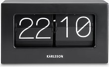 Karlsson Boxed Flip Rubber Wood Table Clock, Black