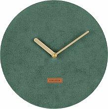Karlsson Corduroy Wall Clock, Corduroy, Green, One