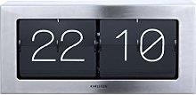 Karlsson Flip Clock Wall Desk Clock Brushed Steel