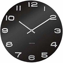 Karlsson Vintage Round Glass Wall Clock, Black