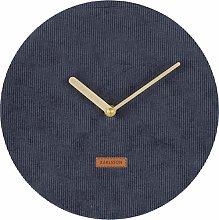 Karlsson, wall clock, Corduroy, Blue, One Size