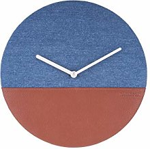 Karlsson, wall clock, Fabric, Blue/Brown, One Size