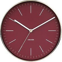 Karlsson, wall clock, Steel, Red, One Size