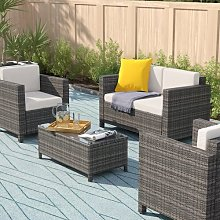 Karly 4 Seater Rattan Corner Sofa Set with Cover