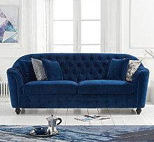 Karrio Linen Fabric 3 Seater Sofa In Blue