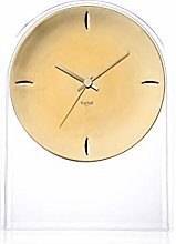 Kartell Table Clock, Crystal Clear/Gold, 21.5 x 8