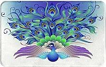 KASMILN carpet bath mat,rug,Ornate Peacock With