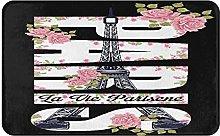 KASMILN carpet bath mat,rug,Paris Slogan With