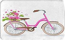 KASMILN carpet bath mat,rug,Pink Bicycle With Cart