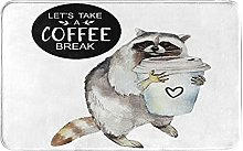 KASMILN carpet bath mat,rug,Racoon With Coffee Mug