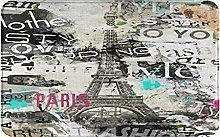 KASMILN carpet bath mat,rug,Retro Eiffel Tower